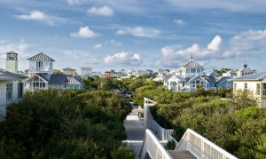 With homes along 30A in various buoyant pastel colors, cleverly winding pathways throughout the town that reveal several hidden pocket parks, and vividly designed beach walkovers which serve as gateways to the captivating sea, Seaside Florida has been designed to amplify the beauty of nature it's surrounded with.