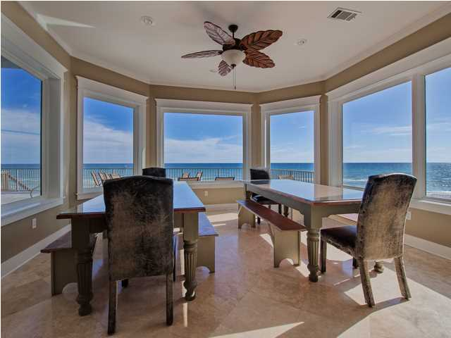 This Santa Rosa Beach FL waterfront home for sale has a luxurious gourmet kitchen that's perfect for preparing meals for a big group of guests.