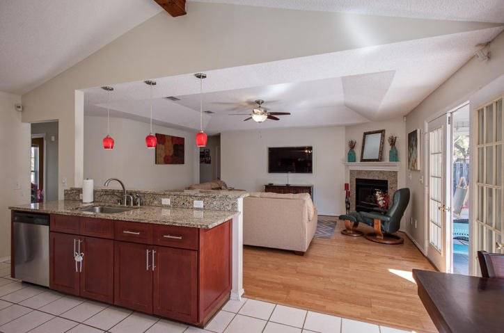 The expansive open floor plan of this Bluewater Bay FL home for sale adds to its overall appeal.