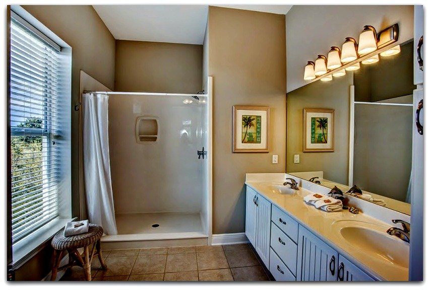 Even the bathrooms of this home for sale in Crystal Beach FL are immaculate.