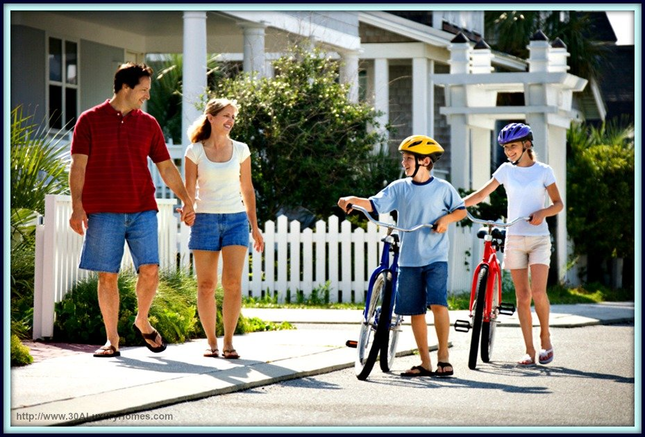 Have fun biking with your family and friends viewing wonderful 30A luxury homes and amazing sites in Seaside.